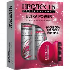 """6255 Подарочный набор Прелесть Professional """"ULTRA POWER"""" (лак, мусс, расческа для волос)"""