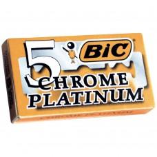 Бритва, бритвы.Двусторонние лезвия для бритвы БИК Хром Платинум уп. 5 (BIC Chrome Platinum)