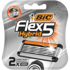 Бритва, бритвы.Сменные кассеты для мужской бритвенной системы БИК Флекс 5 Гибрид уп. 2 ( BIC Flex 5 Hybrid Блистер x2)