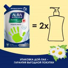 Жидкое мыло AURA (Аура) АНТИБАКТЕРИАЛЬНАЯ с антибактериальным эффектом РОМАШКА дой-пак 500мл