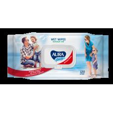 Влажные салфетки AURA (Аура) FAMILY для всей семьи с антибактериальным эффектом в ассортименте big-pack с крышкой 120шт