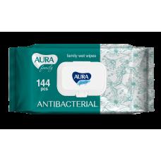 Влажные салфетки AURA (Аура) FAMILY с антибактериальным эффектом big-pack с крышкой 144шт.