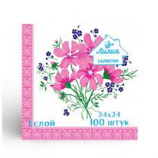 Салфетки Лилия 24х24 с рисунком букет 1сл 100л