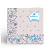 Салфетки Лилия 24х24 с рисунком кружево 1сл 100л