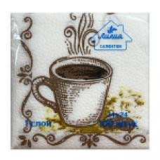 Салфетки Лилия 24х24 с рисунком Кофе 1сл 100л