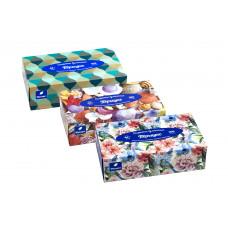 Салфетки бумажные Пёрышко non-stop (нон-стоп) 20x20 в коробочке Микс (Парадиз+Перла+Изумруд) 2сл 100шт