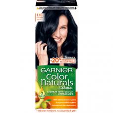 """Garnier (Гарньер) Стойкая питательная крем-краска для волос """"Color Naturals"""" с 3 маслами, оттенок 1.10, Холодный черный, 110 мл"""