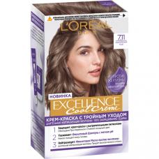 """L'Oréal Paris (Лореаль Париж) Стойкая крем-краска для волос """"Excellence Cool Crème"""" (Экселланс), оттенок 7.11, Ультрапепельный, Русый"""