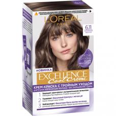 """L'Oréal Paris (Лореаль Париж) Стойкая крем-краска для волос """"Excellence Cool Crème"""" (Экселланс), оттенок 6.11, Ультрапепельный, Темно-Русый"""