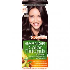 """Garnier (Гарньер) Стойкая питательная крем-краска для волос """"Color Naturals"""" (Колор Нэчралс) с 3 маслами, оттенок 4.12, Холодный Шатен, 110 мл"""