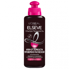 """L'Oréal Paris (Лореаль) Крем от ломкости Проверено Расческой """"Elseve (Эльсев), Ультра Прочность"""", несмываемый, для слабых, склонных к выпадению волос , 200 мл"""