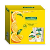"""Подарочный набор Palmolive (Палмолив) Натурэль """"Витамин С и Апельсин"""" (гель для душа 250 мл, крем-мыло для рук 300 мл и эко сумка в подарок)"""