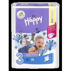 """Подгузники гигиенические для детей под товарным знаком """"bella baby Happy 3"""" (Белла Хэппи) 3 MIDI по 72 шт."""