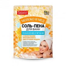 Соль-пена для ванн Увлажнение и питание Молоко и мед серии Народные рецепты, 200гр/Фитокосметик