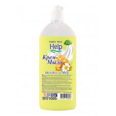 """Крем-мыло жидкое.""""Help""""  (Хелп) Молоко-мед 1 литр/Альфатехформ"""