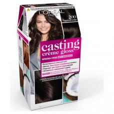 """L'Oreal Paris (Лореаль) Стойкая краска-уход для волос """"Casting Creme Gloss"""" (Кастинг)  без аммиака, оттенок 200, Черный кофе"""