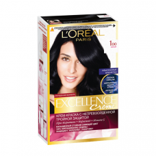 """L'Oreal Paris (Лореаль) Стойкая крем-краска для волос """"Excellence"""" (Экселланс) , оттенок 1.00, Черный"""