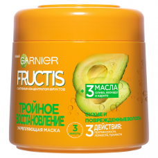 """Garnier Fructis Маска для волос """"Фруктис, Тройное Восстановление"""", укрепляющая, для поврежденных и ослабленных волос, 300 мл, с маслами Оливы, Авокадо и Карите"""