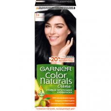 """Garnier (Гарньер)  Стойкая питательная крем-краска для волос """"Color Naturals""""(Колор Нэчралс) с 3 маслами, оттенок 1+, Ультра черный, 110 мл"""