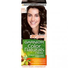 """Garnier (Гарньер) Стойкая питательная крем-краска для волос """"Color Naturals"""" (Колор Нэчралс) с 3 маслами, оттенок 2.0, Элегантный Черный, 110 мл"""