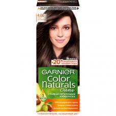 """Garnier (Гарньер) Стойкая питательная крем-краска для волос """"Color Naturals"""" (Колор Нэчралс) с 3 маслами, оттенок 4.00, Глубокий темно-каштановый, 110 мл"""