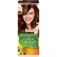 """Garnier(Гарньер) Стойкая питательная крем-краска для волос """"Color Naturals"""" (Колор Нэчралс) c 3 маслами, оттенок 4.3, Золотистый каштан, 110 мл"""