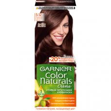 """Garnier (Гарньер)  Стойкая питательная крем-краска для волос """"Color Naturals"""" (Колор Нэчралс) с 3 маслами, оттенок 5.12, Ледяной Светлый Шатен, 110 мл"""