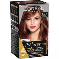 """L'Oreal Paris  (Лореаль) Стойкая краска для волос """"Preference"""" (Преферанс) , оттенок 5.23, Темное Розовое Золото"""