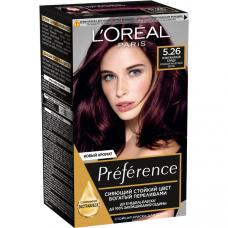 """L'Oreal Paris (Лореаль) Стойкая краска для волос """"Preference"""" (Преферанс), оттенок 5.26, Изысканный Бордо"""