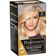 """L'Oreal Paris (Лореаль) Стойкая краска для волос """"Preference"""" (Преферанс), оттенок 9.1, Викинг"""