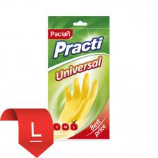 """407602 Перчатки""""Universal"""" (Универсал.)резиновые L желтые /Паклан/"""