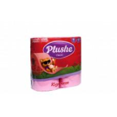 "2087 Туалетная бумага ""Plushe""classic (Плюше классик) клубника 2-х слойная 4 рулона 18 метров"