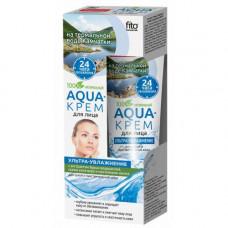 Aqua-крем для лица на термальной воде Камчатки «Ультра-увлажнение» с экстрактом бурых водорослей, соком алоэ-вера и протеинами шелка (для сухой и чувствительной кожи) серии «Народные Рецепты», 45мл /Фитокосметик