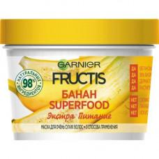 """6037 Garnier Fructis Маска для волос 3в1 """"Фруктис, Superfood Банан"""", питательная, для очень сухих волос, 390 мл"""